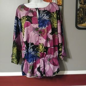 Sunny Leigh multicolor silky polyester top large